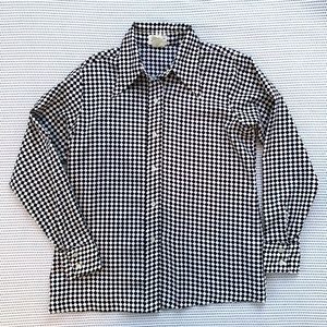 Vintage Sears Black + White Checkered Plaid Shirt